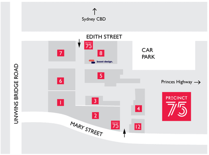 Boost Design Location Map St Peters Sydney